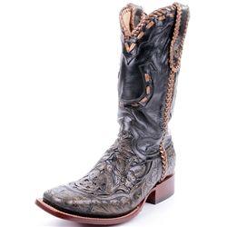 corral black gold tooled horseshoe cowboy boots