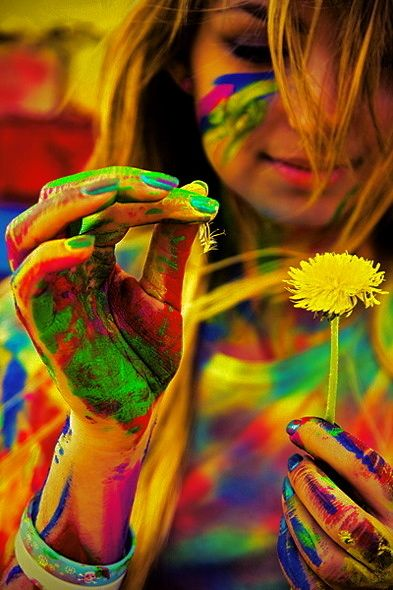 i want to do this so bad. i love being covered with colors!!