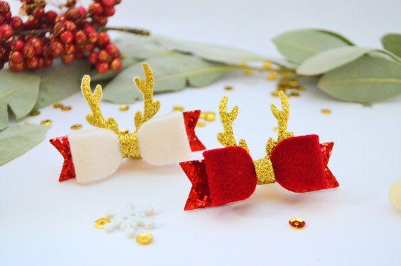 Christmas hair clip bows Reindeer bow small Christmas bow