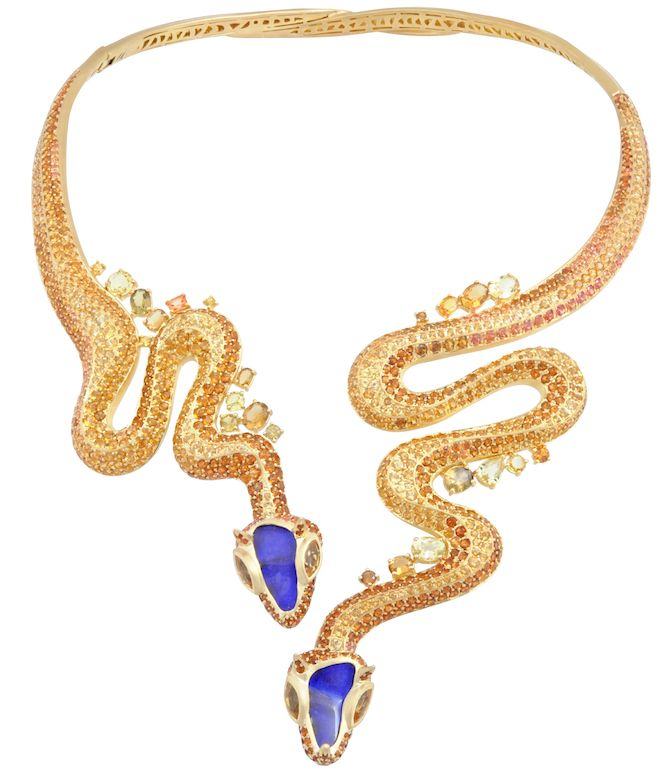 Sahara snake necklace in 18k yellow gold with opals, citrines, topaz, hessonite, and sapphires, price on request; Lydia Courteille