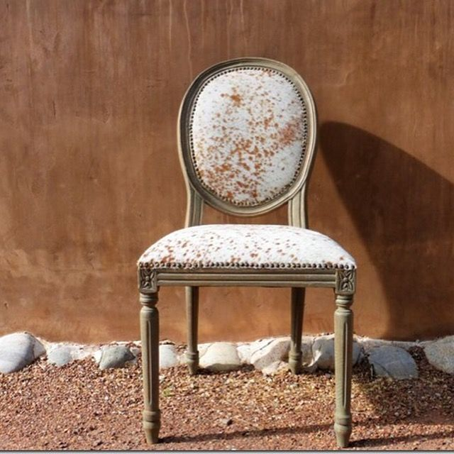 French Oval Back Cowhide Chair $350
