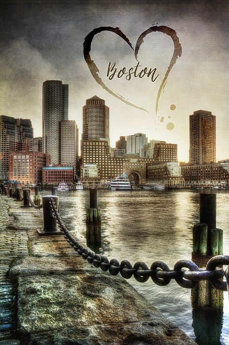 Vintage Boston Scene of the Financial Center Boston Skyline taken from the cobblestone sidewalk of Fan Pier and a giant pen and ink hear in the clouds with the word Boston in the middle. #Boston #BostonSkyline #BostonPoster