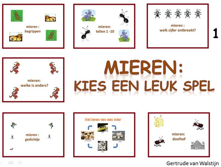 Mieren: 7 verschillende spelletjes voor groep 1.  De kinderen een spelletje spelen over mieren. Zo kunnen ze mieren tellen van 1 tot en met 10. Er zit een powerpoint in over het leven van de mier. Er zijn verschillende mierendoolhoven. Er is een gedichtje over mieren. Taal-, rekenbegrippen kunnen geoefend worden. Er is een spelletje waarbij je cijfers op mieren ziet staan, maar een cijfer ontbreekt. etc.  .http://leermiddel.digischool.nl/po/leermiddel/d6d5fa7d1b7ea7d0a4959d669669309e