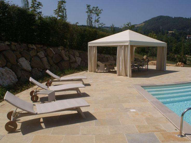 Beschattung Terrasse Garten Sonnenschutz Zelt Weiss Mediterran Vorhaenge