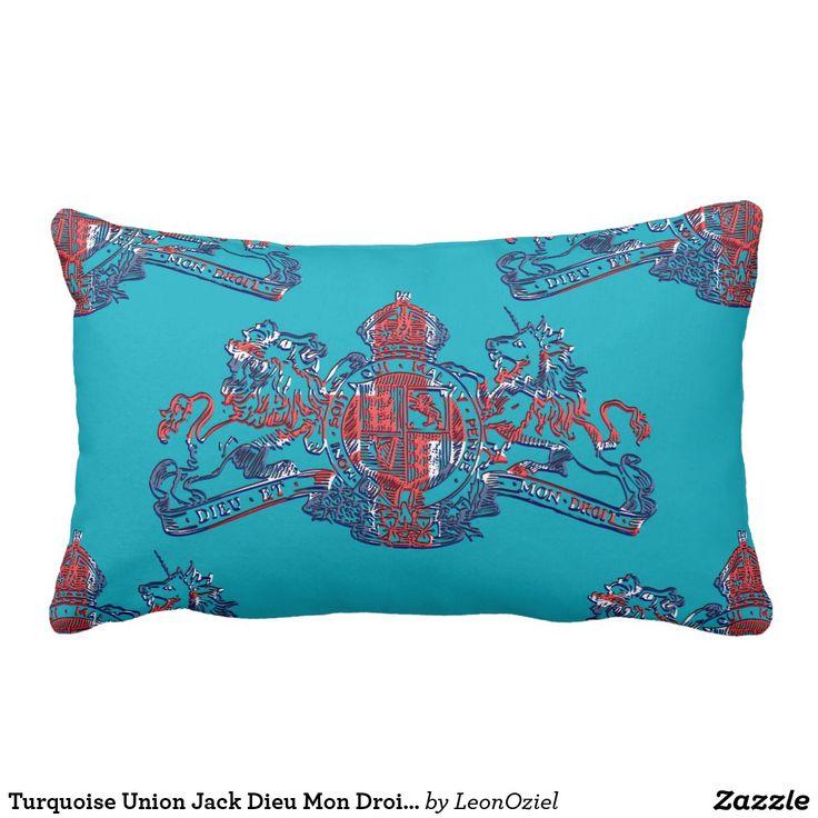 Turquoise Union Jack Dieu Mon Droit Coat of Arms Lumbar Pillow