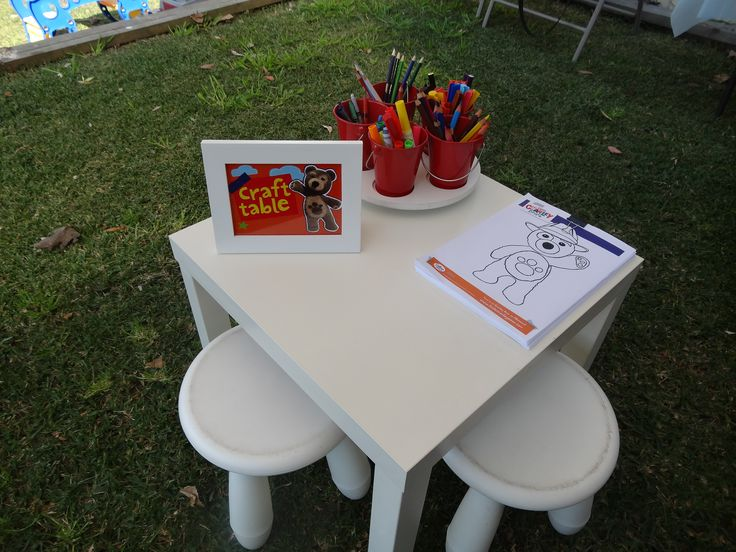 Our Craft table, charley bear party. Table sign by I Make Jelly