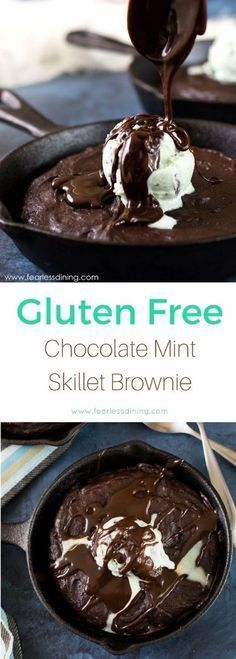 Easy flourless chocolate mint brownies. These brownies bake in a skillet, making for an easy clean up. Add your favorite ice cream and hot fudge for an extra special gluten free dessert. via @fearlessdining