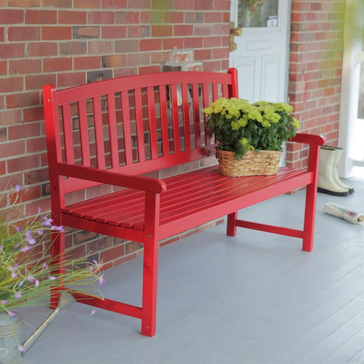 5-Ft Outdoor Garden Bench in Red Wood Finish with Armrest