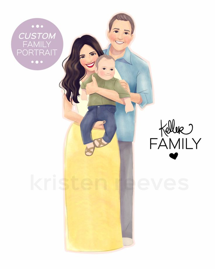 8x10 Custom Family Portrait - Unique Personal Wall Art Print by ArtbyKristenReeves on Etsy https://www.etsy.com/listing/210625059/8x10-custom-family-portrait-unique