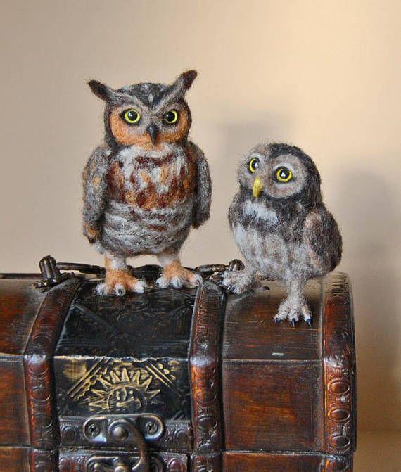 Owl Soft Sculpture. Needle Felted Owl. Cute Little Felted Owl.