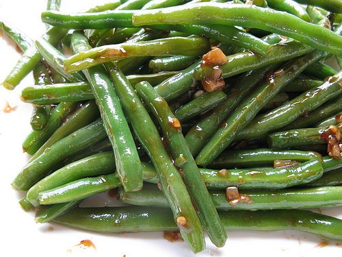 Chinese Green Beans Recipe Side Dishes with fresh green beans, fresh ginger root, garlic cloves, water, soy sauce, corn starch, brown sugar, sesame oil, crushed red pepper flakes, vegetable oil