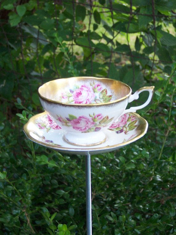 Pink Shabby Chic Tea Cup Garden Yard Art - Pink Roses and ...