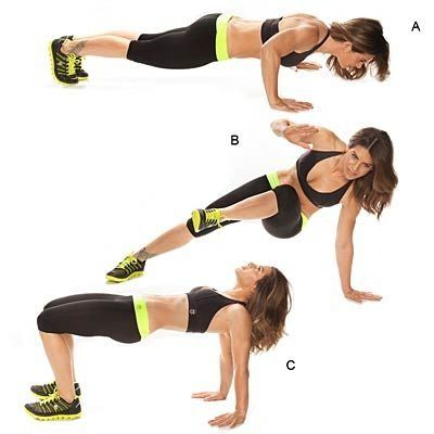 Hip Heist Push-Up: Get your upper body in shape with no-gym moves that work your biceps, triceps, shoulders, back, and core. | Health.com