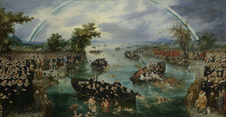 Adriaen Pietersz. van de Venne   Fishing for Souls, Adriaen Pietersz. van de Venne, 1614   De zielenvisserij: allegorie op de ijverzucht van de verschillende religies tijdens het Twaalfjarig Bestand (1609-1621) tussen de Nederlandse Republiek en Spanje. In een rivierlandschap bevinden zich grote groepen mensen aan beide oevers van de rivier, op het water bevinden zich enkele roeiboten. Aan de horizon een regenboog. Aan de linker zijde de Protestanten en hun aanhangers, de prinsen van Oranje…