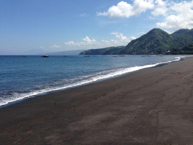 Black beach near volcano at Flores