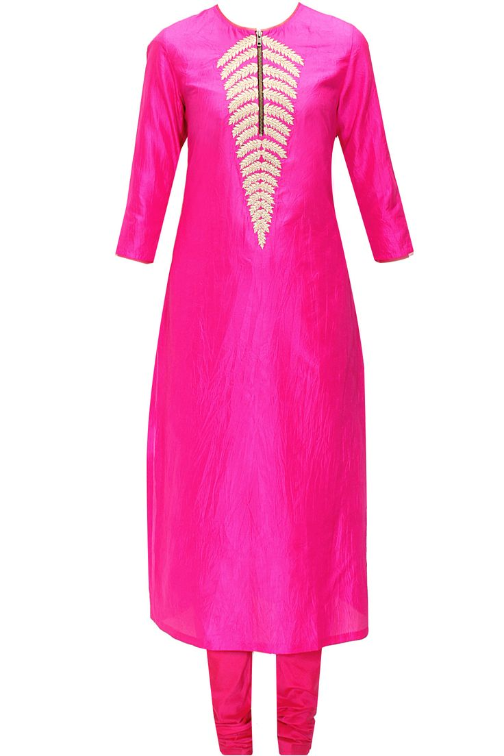 Bright pink fern embroidered kurta set available only at Pernia's Pop-Up Shop.