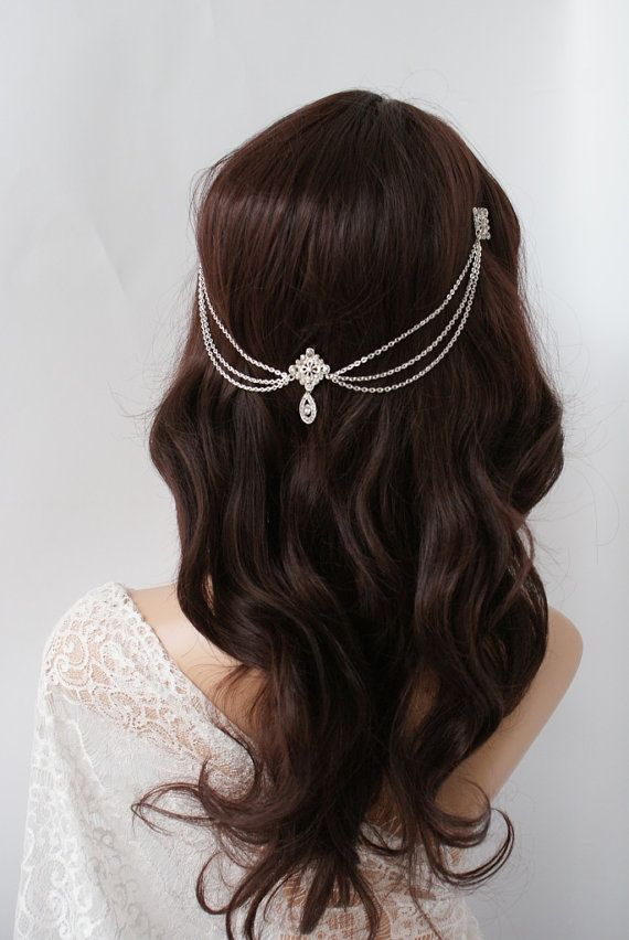 Wedding Headpiece with crystals Bohemian by RoseRedRoseWhite