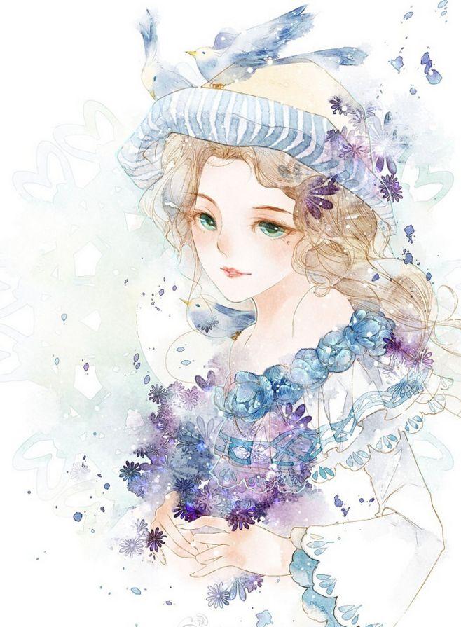 明るい青色系イラスト ぷっくりタイプの女の子 小清新なアニメ