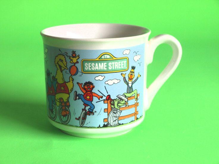 1987 Sesame Street Characters Mug - Vintage Retro Cookie Monster, Big Bird, Bert & Ernie Children's Mug Cup - Made in Korea by FunkyKoala on Etsy