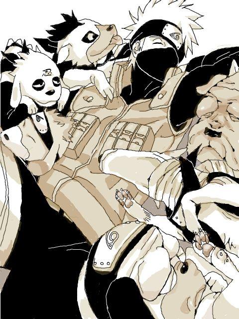 <3 Kakashi & his Ninken (Ninja Hounds) - by モトリ, tegaki. pipa. jp