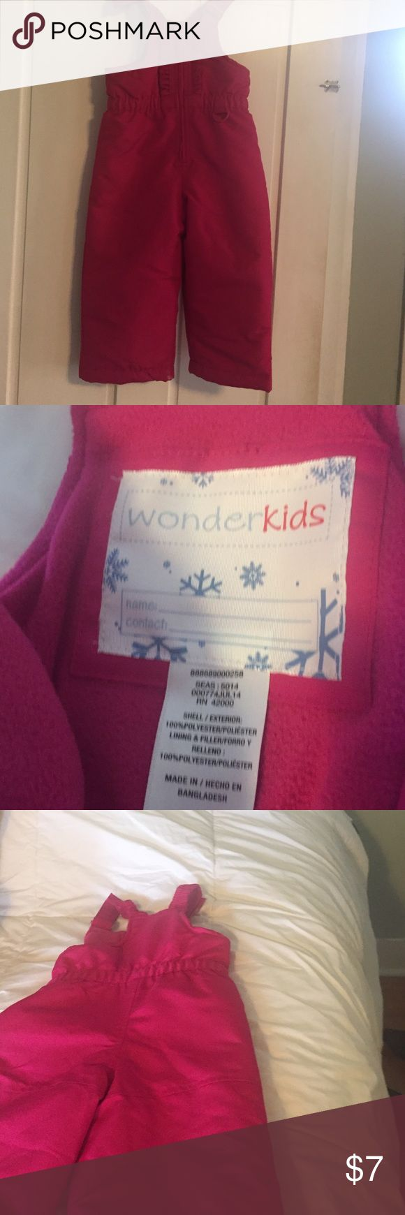 Wonder Kids , 3 T pink bib snow pants . 3 T, bright pink, and adorable . Other