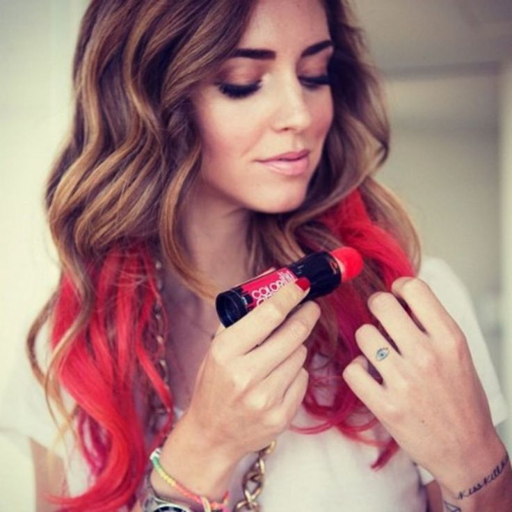 """Sponge-on hair color.  Shown here: Redken Color Rebel Hair Makeup in """"Red-Y to Rock"""" or try Hot Huez.  Supersaturated but can feel really sticky/stiff & take several washes to remove"""