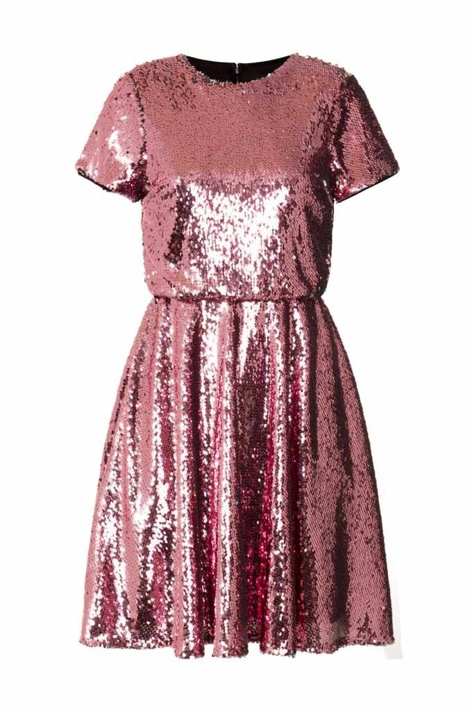 TFNC Party Dress<br />  <br />  - Pink/Silver Sequin Dress all over<br />  - Mini Skater Skirt<br />  - Invisible Zip On Reverse<br />  <br />  Material -  100% Polyester<br />  Care - Hand Wash Only<br />