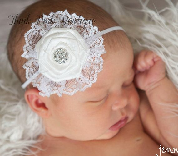 White baby Headband, shabby chic headband, christening headband, baptism Headband,Lace  Headband, girl headband, baby bows, Hair bows