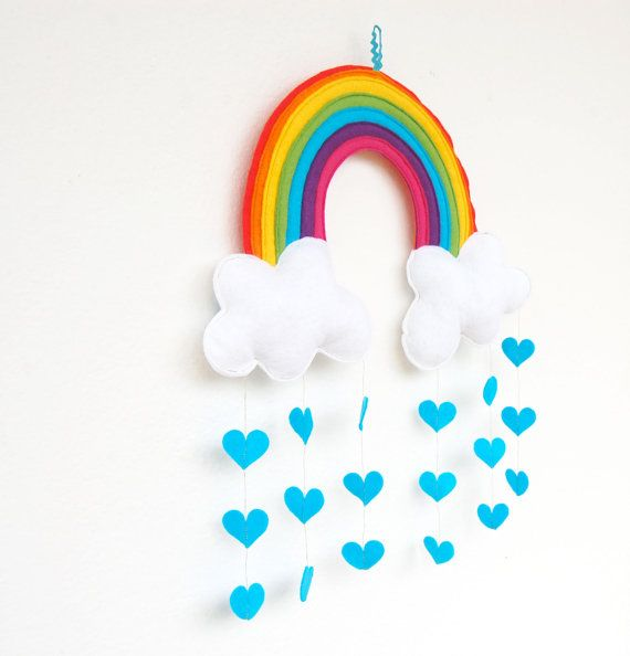 Rainbow & Clouds Raining Love Hearts Mobile A by therainbowroom, $52.50