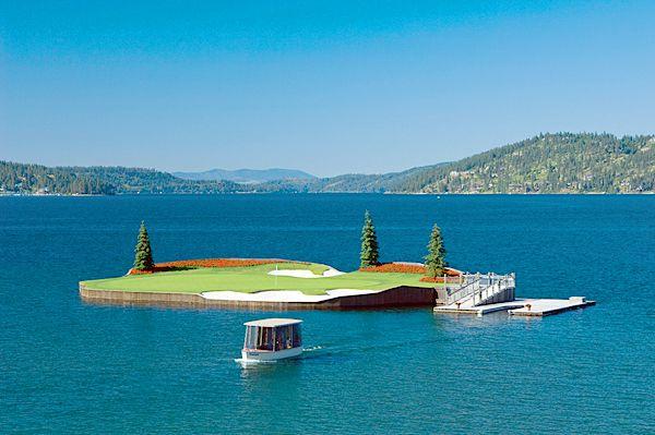 Coeur d'Alene Golf Resort - 14th hole  Moveable island green in Idaho's Lake Coeur d'Alene