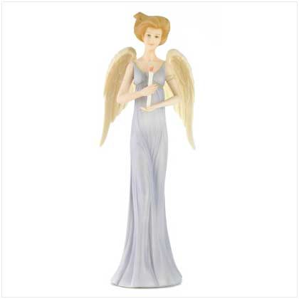 """""""Courage Blessing Angel"""" Statue Gazing forward, a guardian angel shines a light that gladdens the hearts of all who see. A fitting symbol of how simple faith and courage will always brighten life's path! Handmade by CloudWorks™. Stone resin. 4"""" x 3 1/2"""" x 10"""" high."""