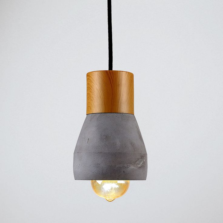 Industrial Style Concrete & Wood Effect Ceiling Pendant Light Fixture Home in Home, Furniture & DIY, Lighting, Ceiling Lights & Chandeliers | eBay