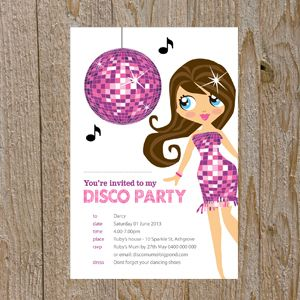 Disco Party Invitations (PINK)-disco party, disco, invites, invitations, disco party invitations