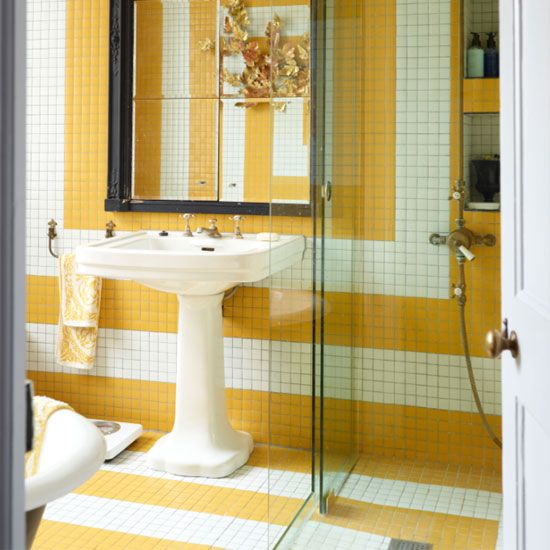 bathroom patterned tiles art deco white and yellow monochrome statement