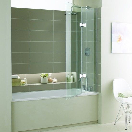 Minima shower bath from West One Bathrooms This smart scheme incorporates a fitted bath, swing-arm shower screen and a handy built-in storage shelf.