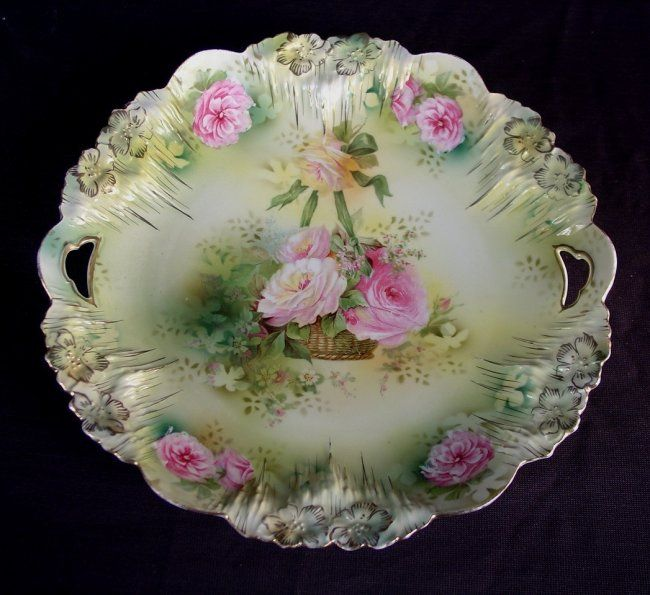 RS Prussia plate with roses in basket, 10in. Diameter with rose basket design
