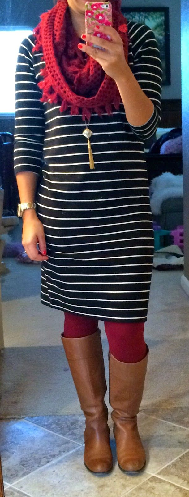 This black and white dress can be worn practically year-round! Here's the dress paired with colored tights and boots.