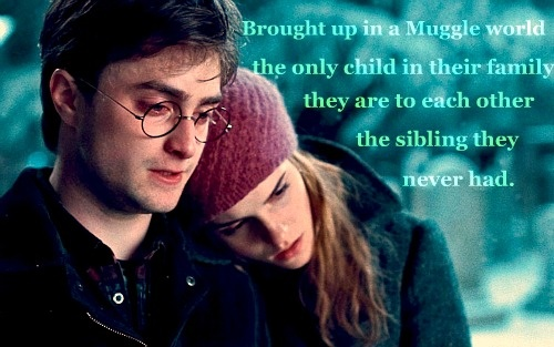 I never thought of Harry and Hermione like this but it makes their friendship that much sweeter.---Aaawwwwww