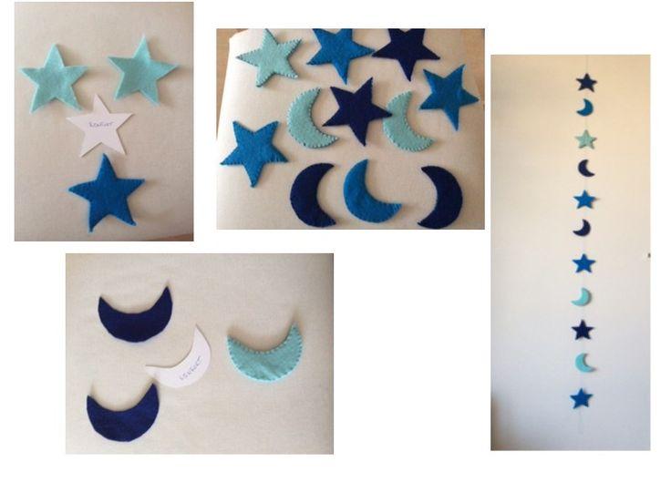 Guirlande d'étoiles et de lunes en feutrine faite maison.