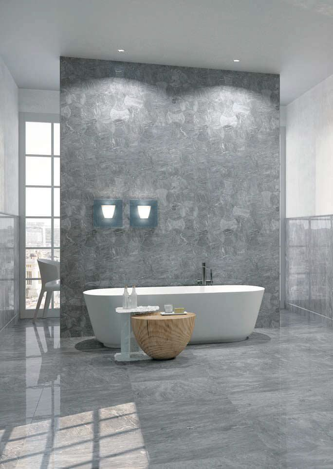 Bardiglio Nuvolato Marble Polished Marble Bathroom In