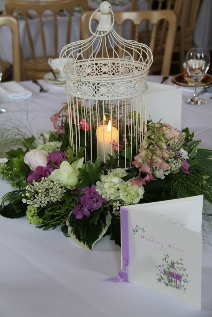 Vintage Bird Cage Centerpiece : Bird cage floral vintage table centrepiece
