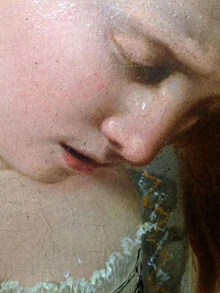 Dettaglio Maddalena Penitente del Caravaggio