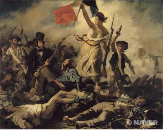 이 장면은 혁명을 이끌고 있는 여인의 모습을 그린 것입니다. 그러나 위 그림의 주인공은  흑백으로 처리되어있지만 여자가 들고 있는 국기는 색채를 넣었습니다. 즉 국기에만 색을 넣어서 자유 평등 박애인 프랑스 국기의 정신을 보여줌을 알 수 있습니다.