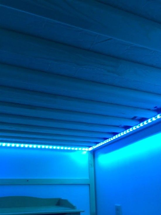 $23 for adhesive lighting for under loft bed... includes remote and various colored lights!