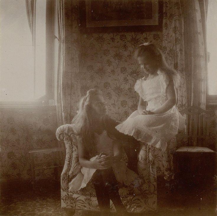 "Grand Duchesses Olga and Maria Nikolaevna Romanova of Russia at the Alexander Palace,Tsarskoe Selo in 1906. Photo from Empress Alexandra Feodorovna of Russia's 1903-1907 Photo Album. ""AL"""