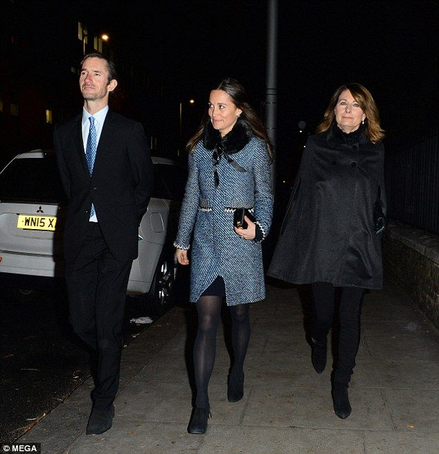 (L-R) James Matthews, Pippa and Carole Middleton appeared to be in high spirits after leav...