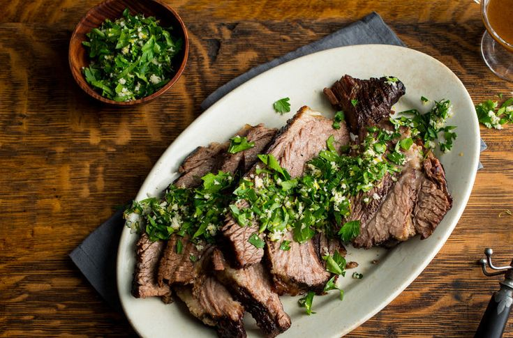 Melissa Clark braises brisket and pairs it with a bright horseradish gremolata.