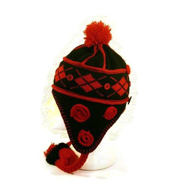 Tuque rouge tuque noire Pompon rouge Tuque pompon Bonnet