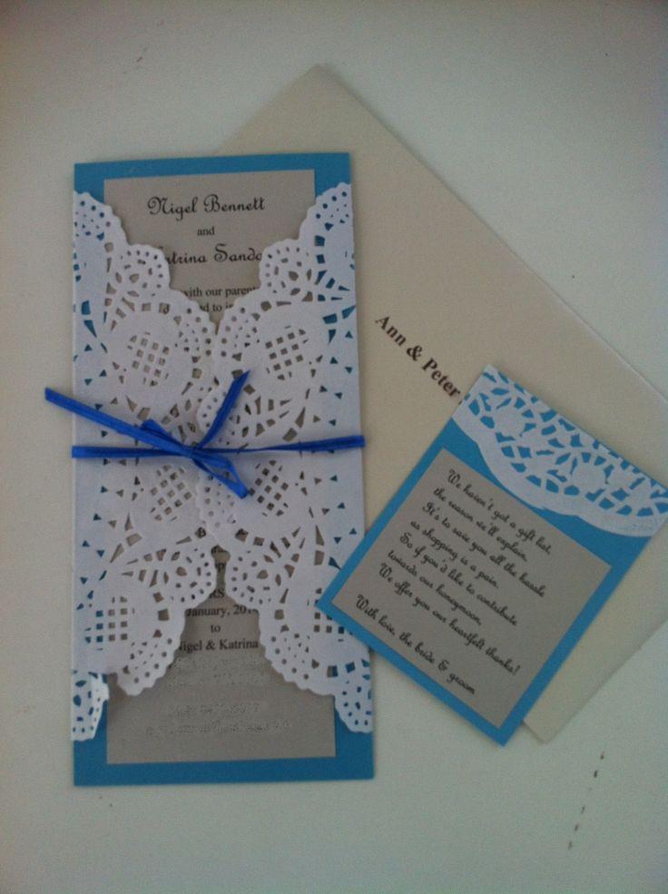 Doily wedding invites mum helped me make.