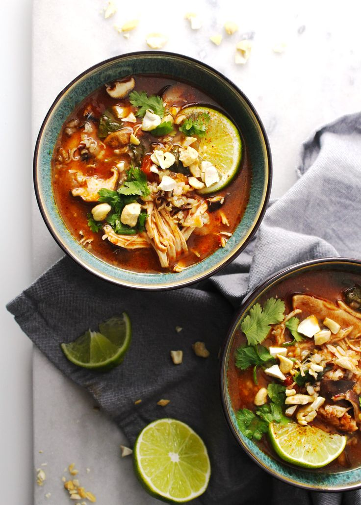 This Thai Chicken and Rice Soup has a little kick, a little spice, but only for flavor not for heat. With the oh-so-basic chicken and rice base, you can also easily change the ingredients of this recipe to your liking. Make this in the Instant Pot in less than 20 mins! #Quick #Easy #30MinuteMeals #TheDinnerChef #Thai #Chicken #Soup #Rice